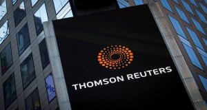 FILE PHOTO: The Thomson Reuters logo is seen on the company building in Times Square, New York