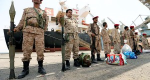 Yemen's Houthi movement forces are seen during withdrawal from Saleef port in Hodeidah province