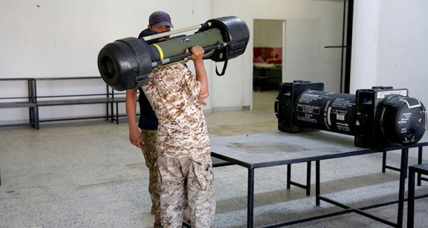 American Javelin anti-tank missiles, confiscated from eastern forces led by Khalifa Haftar in Gharyan, are displayed for media in Tripoli