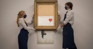 «La fille au Ballon» partiellement autodétruite de Banksy s'envole pour un montant record